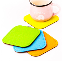 Two Layered Bicolor Heat Insulation Square Felt Drink Coaster Coffee Mat