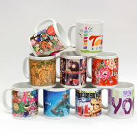 11oz Ceramic C Handle Mug with Vivid Full Color