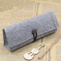 Personalized Triangle Shaped Felt Pencil Bag Case Stationery Bag-with Button