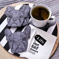 Custom Animal Coaster Soft Felt Cup Coaster Tableware Decoration-Dog