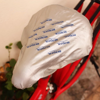 Silver 190T Polyester Screen Printed Bicycle Bike Cycling Saddle Seat Cover