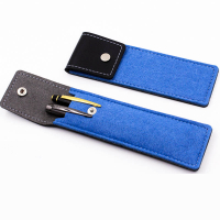 Leather Flip Over Felt Portable Pen Holder Pencil Pouch Storage Bag