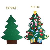DIY Felt Christmas Tree with 26pcs Detachable Ornaments + Banners Garland for Kids-Xmas Wall Hanging Decoration