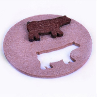 Custom Detachable Felt Coaster Glass Coaster w/ Cute Animal Design