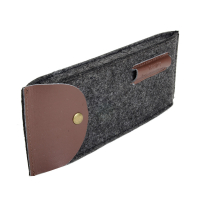Felt Pencil Sleeve Case Pouch with Leather Cover-Dark Gray