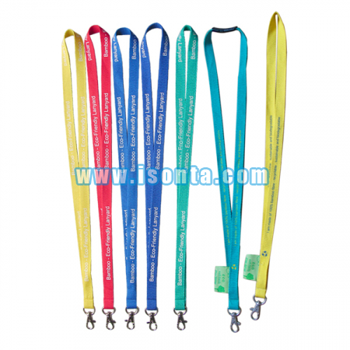 Custom Silk Screen Printed Eco-Friendly Bamboo Lanyards