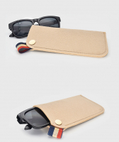 Polyester Felt Eyeglasses Sleeve Case 90mm x 183mm-Khaki