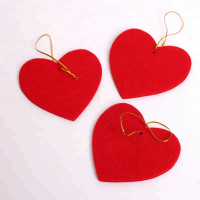 Custom Felt Heart Xmas Ornaments Christmas Tree Hangings