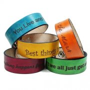 "1"" x 11-4/5"" (2.5x30cm) Genuine Leather Wristband Bracelet Awareness Wristband"
