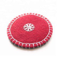 Two Layered Bicolor Round Felt Coaster Beverage Coaster Coffee Mat
