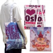 150D Polyester Shopping Bags by sublimation on full surface with white handles