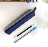 Felt Pencil Bag Case with Double Contrasted Color Design