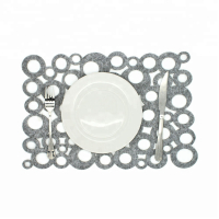 Custom Hollow Out Restaurant Placemat Felt Table Mat with Bubbly Pattern