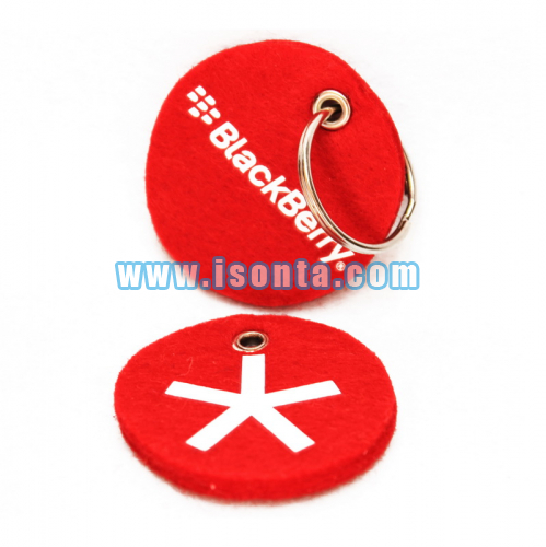 Customized Shape Logo Printed Felt Key Holder-Round