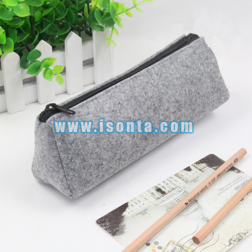Personalized Triangle Shaped Felt Pencil Bag Case Stationery Bag-with Zipper