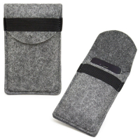 Custom Felt Mobile Phone Pouch Bag with Protective Cover for iPhone 5-Light Gray