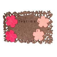 Customized Die Cut Laser Engraved Polyester Felt Flower Tea Cup Cushion Coaster Table Mat