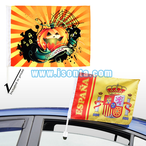 Sublimation Medium Custom Car Flags with 17-inch Stick