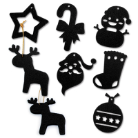 Custom Laser Cut Felt Christmas Hangings Xmas Ornaments 7x7cm