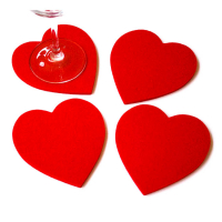Lovely Red Heart Shaped Drink Coaster Felt Glass Coaster Wedding Favors Anniversary Decor