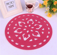 Customized Laser Die Cut Round Placemat Table Mat Felt Coaster Cup Mat