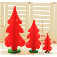 Custom Felt Mini Xmas Tree Christmas Ornaments Table Decoration-Red