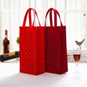 2 Bottles Wine Carrier Bag Beer Bottle Tote Felt Water Drink Handbag
