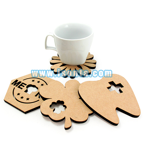 Laser-Cut 5.5mm Thick MDF Free-Form Coasters