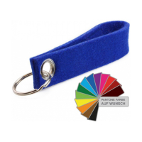 Promotional Wool Felt Keyring Holder Keychain 12 x 2.5cm-Logo