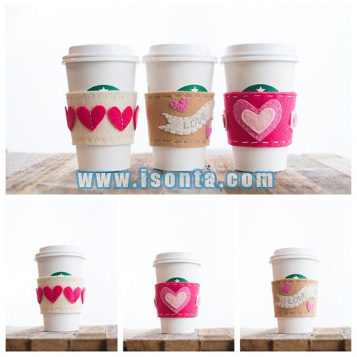 Custom Handmade Felt Coffee Cup Sleeve Reusable Felt Mug Sleeve
