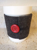 Custom Novelty Felt Cup Sleeve with Button Decoration