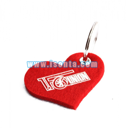 Customized Shape Logo Printed Felt Key Ring Holder-Heart