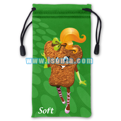 Promotional Printed Microfiber Drawstring Cell Phone Pouch-210GSM