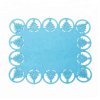 Custom Christmas Placemat Felt Tableware Mat with Laser Cut Christmas Tree Pattern