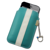 Custom Double Colored Leather Style Pocket Phone Holders with Charm