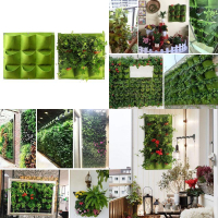 9 Pockets Indoor Outdoor Wall Mount Felt Garden Bag Flower Plant Bag Pots