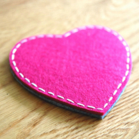 Two Layered Bicolor Heart Felt Coaster Tea Cup Coaster Coffee Mat