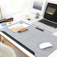 Felt Mouse Pad Desktop Mouse Table Mat w/Pen Holder A4 File Pockets