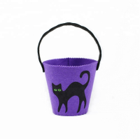 Custom Halloween Party Supplies Funny Felt Cat Candy Bucket