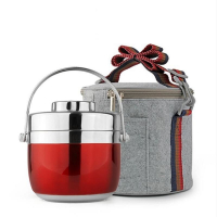 Custom Stainless Steel Lunch Box 1.2L/1.5L+ Felt Insulated Lunch Tote Bag Picnic Food Container