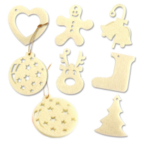 Custom Laser Cut Felt Xmas Ornaments Christmas Hangings 6x6cm
