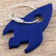 100% Merino Wool Felt Key Tag-Rocket