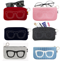 Eyeglass Sleeve Case Bag Felt Cosmetic Bag-Red