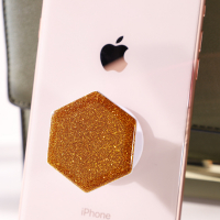 Glitter Epoxy Dome Hexagon PopSocket Collapsible Phone Stand-Gold