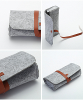 Polyester Felt Eyeglasses Case Bag with Leather Strap