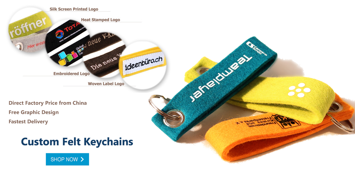 Customized Promotional Felt Keychains & Keyrings
