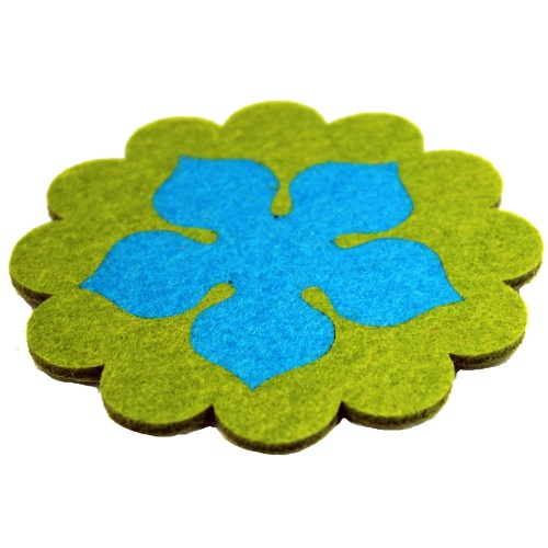 2 in 1 Fitted Felt Customized Lotus Cup Coasters